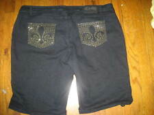 DEREON studded Stretchy Denim Cuffed Shorts PLUS SIZE 24 W *