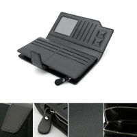 Multifunctional Men's Pu Leather Wallets Money ID Credit Card Holder Case Black