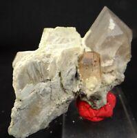New Microlite on Topaz Crystal W/Quartz & Mica Specimen 634 CT Skardu Pakistan