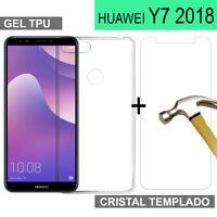 PACK FUNDA TRANSPARENTE + PROTECTOR CRISTAL  VIDRIO TEMPLADO HUAWEI Y7 2018