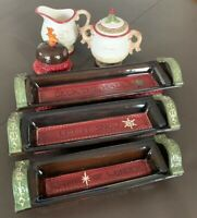 8 Piece Vintage Holiday Christmas Appetizer Trays Butter Dish Sugar Creamer