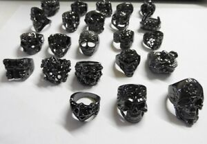 Stainless Steel Black Gothic Rings 23 styles