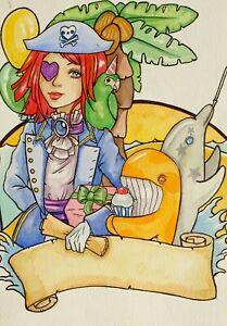 Original Kunstwerk Fantasie Piraten Mädchen Mit Delphin & Wal Von Mortimer Spatz