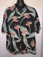 Mens Black Floral Print Tommy Bahama Aloha Hawaiian 100% Silk Camp Shirt L