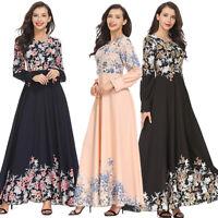 Women Ladies Long Muslim Maxi Dress Cocktail Evening Party Islamic Abaya Dresses