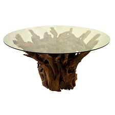 AWESOME RECLAIMED SOLID TEAK ROOT DINING TABLE Safety GLASS 120 CM DIAMETER