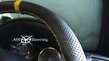 FOR 95-03 RENAULT MEGANE I PERFORATED LEATHER STEERING WHEEL COVER +YELLOW STRAP