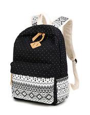 Casual Lightweight Canvas Laptop Bag Shoulder School Backpack Bohemian Black
