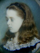 More details for antique miniature portrait painting with locks of hair rare young girl
