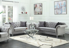 NEW Traditional Living Room Couch Set - Tufted Gray Microfiber Sofa Loveseat R74
