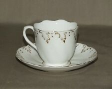 Vintage White Cup and Saucer with Gold Accent Leaf Trim