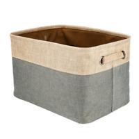 Collapsible Storage Basket Foldable Canvas Linen Tweed Bin Uncovered Storage DL5