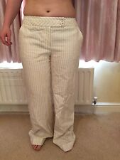 Coast Cream With Grey Pinstripe Trousers 14 Linen Cotton New No Tags
