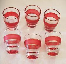 N° 6 bicchierini in vetro decorato rosso e oro