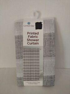 "Comfort Bay Fabric Shower Curtain Plaid Brown Gray White 70 X 72 "" NEW"