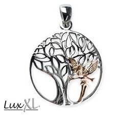 Echt LuxXL Elvish Tree Lebensbaum Anhänger Vergoldet 925er Silber - Neu