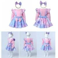 Baby Girls Princess Outfits Dress Long Sleeves Tops Suspender Skirt Headband Set