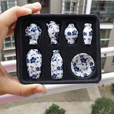 1/12 Dollhouse Ceramic Miniatures China Porcelain Vase Blue Vine 7pcs Vintage