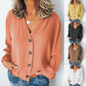 Women Ladies Shirt Casual Pure Buttons Coat Blouse Long Sleeve Loose Autumn Tops