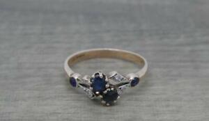 Vintage Elegant 9ct Gold Sapphire & Diamond Two stone Twist Ring, UK Size M 1/2