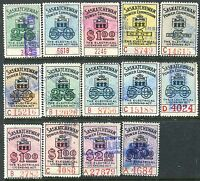 14 different Saskatchewan Electrical Inspection Stamps.  (Lot #RR71)