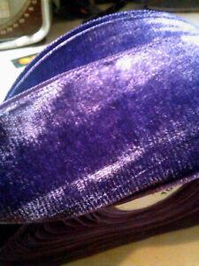 "Vintage 2"" Velvet Ribbon Rayon Amethyst  Purple 1yd Made in France"