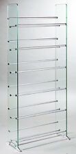TransDeco Glass CD DVD Rack /Stand 6 CD/DVD Shelves 336 CD 234 DVD 138 VHS -NEW