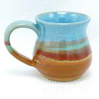 Coffee Mug Cup Studio Art Pottery Ceramic Turquoise Brown Red Drip Glaze 12 oz