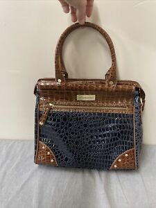 NEW Samantha Brown Crocodile Embossed Dowel Bag BRAVO BLUE & Brown FS Charity