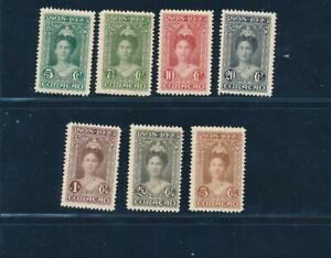 D145075 Curaçao MH 1923 Queen Wilhelmina Sc. 75-81