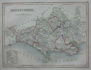 DORSETSHIRE, DORSET, original antique map, railways,  JOSHUA ARCHER, c.1848