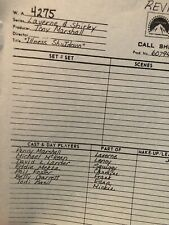 "Laverne And Shirley TV Show Call Sheets Ep: ""Illness Shutdown"" 1978"