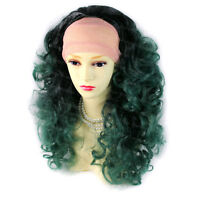 Wiwigs Dip-Dye Ombre Grey Green Red Blue 3/4 Curly Fall Hairpiece Ladies Wigs