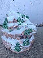 Vintage Ceramic Holiday Scene Trees House Wagon Light Up