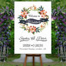 Personalised Welcome To Our Wedding Sign Poster Floral Birthday Party Any Event