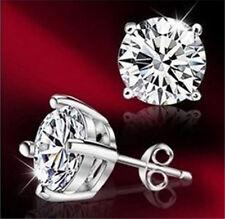 Wholesale fashion Jewelry Silver Ear Pin Zircon Stone Ear Studs Earrings+Box