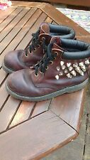 Dr Martens dark red brown oxblood studded leather 6 hole boots size 5