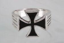 COSTUME BLACK STONE CELTIC CROSS RING SIZE 11 1/2  FASHION 7663