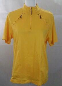 JAMIE SADOCK Golf 1/4 Zip s/s Polo Shirt Womens *small yellow cotton EUC