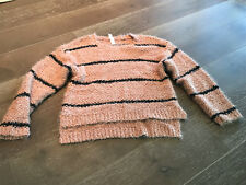 AMADI THICK CHUNKY CORAL & BLACK STRIPED HI LOW SWEATER OVERSIZED SZ SMALL NWOT