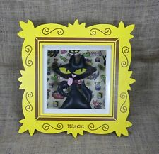 "Kitsch Black cat Shadow Box  Nika Cat Yellow frame  13 x 13"" Cat is Puffy"