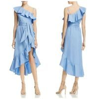 NWT Sandro  Blue Lover Ruffled One-shoulder Dress, size 3 (L)