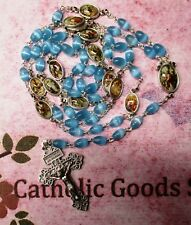 The Way of the Cross Chaplet - 9 x 6 mm blue oval Cats Eye bead)