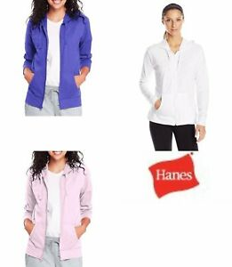Hanes Women's Jersey Full Zip Hoodie COMFORTSOFT- 100% Cotton Purple/Pink/Gray