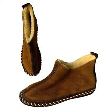 Quoddy Women's Sheepskin Slipper Pull On Moccasins size 9 Chestnut Made in USA
