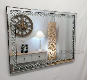 Floating Crystal Rectangle Wall Mirror Elegent Glass Diamond Frame 80x60cm Bling