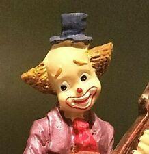 Vintage Male Clown Playing Cello Music / Albino Rabbit Hat / Purple Ceramic