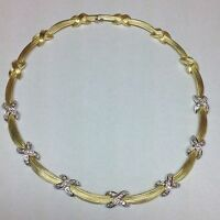 74.3 GRAMS! 3 CARAT DIAMONDS! 18K TWO TONE GOLD CHOKER NECKLACE 17+ INCHES