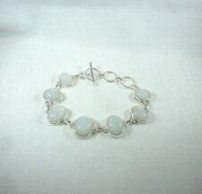 16.95ct Natural Sri Lankan White Moonstone 925 Sterling Silver Toggle Bracelet