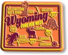 Wyoming the Forever West State Deluxe Map Fridge Magnet